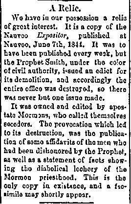 A Relic, Salt Lake Tribune, 1875